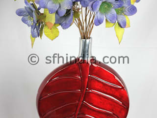 Red Enamel Glossy Vase:   by SUPER FINE HANDICRAFTS