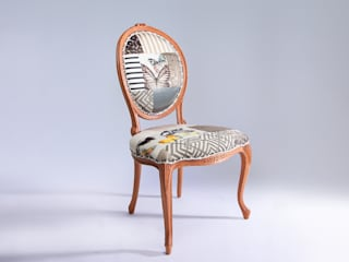 Oval backed luxury patchwork dining chair in neutrals:   by Suzy Newton Ltd.