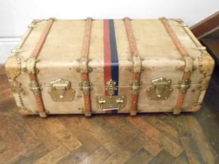 Vintage Vellum Trunk Travers Antiques Living roomStorage