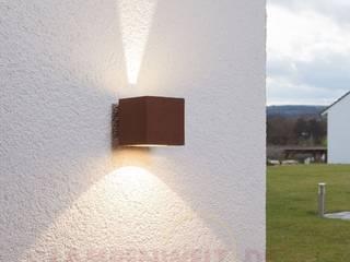 Rostbraune LED-Außenwandleuchte Jarno, Würfelform:  Garten von Lampenwelt.de