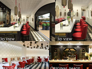 pool side bar 3d and real images of project:  Hotels by white owl works