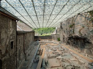 Coverage of archaeological ruines of the abbey of St-Maurice od savioz fabrizzi architectes