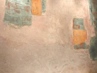 Mural abstracto con técnica de estuco y elementos de plata de mural x 3 Moderno