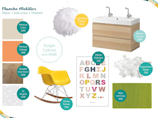 Planche mobilier du Rez-de-chaussée:  de style  par Angèle Ethuin - Designer d'intérieur & Coloriste