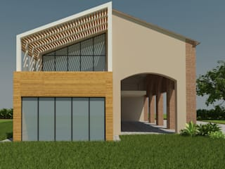 Facciata ovest con ampliamento:  in stile  di Plus Concept Studio