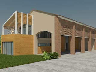Vista Sud Ovest_porticato:  in stile  di Plus Concept Studio