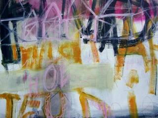 """""""Bloc-note"""" Acrylique, mine graphite et pastel sur toile,  2014. 100x100:  de style  par Mae Azzopard"""