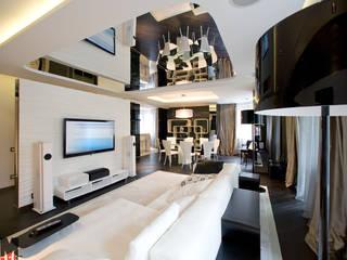 Черное и белое Гостиная в стиле минимализм от ММ-design Минимализм