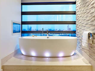 Penthouse Interior Design, River Thames, London Residence Interior Design Ltd Kamar Mandi Modern