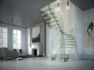 Innovations with glass - the staircase model LONDRA de Siller Treppen/Stairs/Scale Moderno