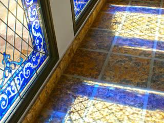 Vidrieras azules con arenado Vitromar Vidrieras Artísticas Puertas y ventanasDecoración de ventanas
