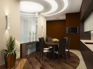 В круге света Столовая комната в стиле минимализм от ММ-design Минимализм