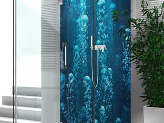 Eine thematisch sehr schön passende Duschrückwand.