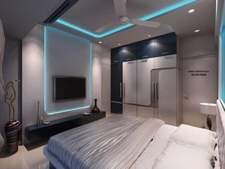 Ekta World, Borivali:  Living room by RK Design Studio ,