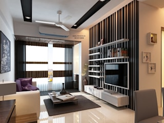 Ekta World, Borivali: minimalistic Living room by RK Design Studio