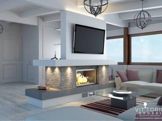 Attico total white lato TV Balcone, Veranda & Terrazza in stile mediterraneo di Falegnameria Abruzzese Mediterraneo