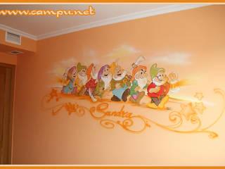 Murales en habitaciones infantiles: Dormitorios infantiles de estilo moderno de CAMPU.NET
