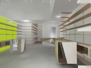 gianluca milesi architecture Studies for a Stationary Shop -schme 01-: Spazi commerciali in stile  di gianluca milesi architecture