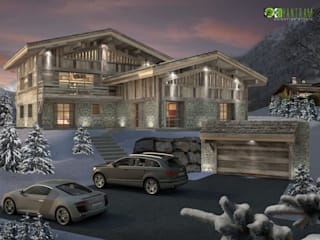 3D Home Exterior Night View Rendering Design Studio:   von yantramstudio
