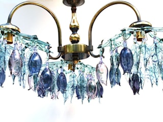 Flowers and leaves glass chandelier, Aqua and purple:   by A Flame with Desire