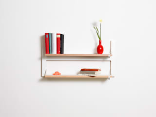 Fläpps Shelf 80x40x2 - The Double Slim AMBIVALENZ Study/officeStorage Plywood White