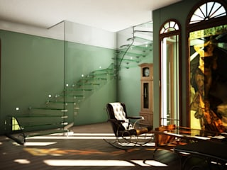 All glass stairs with artistic glass railing by Siller Treppen/Stairs/Scale Еклектичний