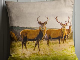 Stag Linen Cushion backed with Vintage Velvet:   by Lomas & Lomas