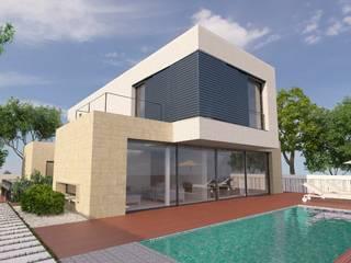 NUÑO ARQUITECTURA Modern houses Limestone Beige
