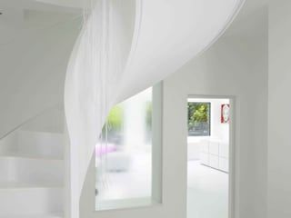 Ice White House-Luxury home Quirke McNamara Minimalist corridor, hallway & stairs