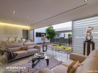 Casa Kopché Livings de estilo moderno de Grupo Arquidecture Moderno Concreto