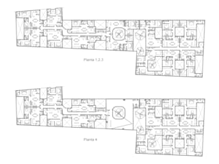 Plantas de niveles 1-4: Casas de estilo  por RECON Arquitectura