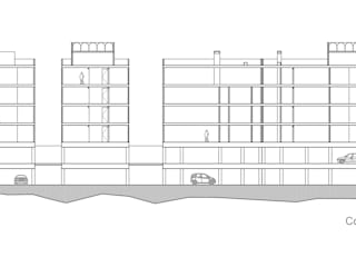 Corte longitudinal: Casas de estilo  por RECON Arquitectura