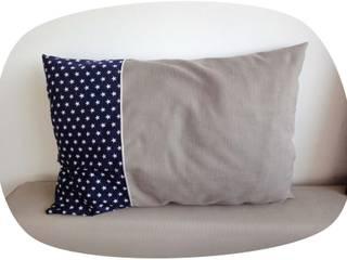 Coussin en lin et imprimé étoile avec passepoil:  de style  par J'ai pensé à un truc - Déco et créations textiles
