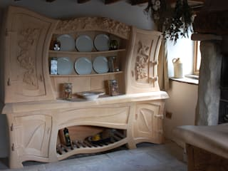 Sculptural Organic Handmade  Bespoke kitchen Furniture:   by Carved Wood Design Bespoke Kitchens.