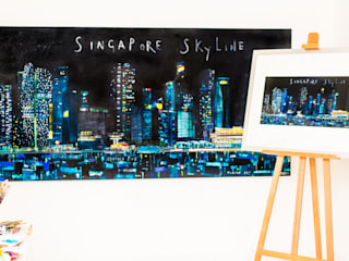 Singapore Skyline:   by Clare Haxby Art Studio