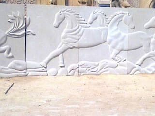 StonzPro Sandstone Seven Horses Mural:   by Stonzpro T Private Limited