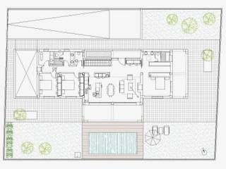 DISTRIBUCIÓN PLANTA BAJA:  de estilo  de NUÑO ARQUITECTURA, Moderno