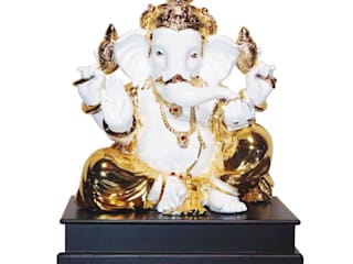 Jeweled Ganesha Statue/ Indian Hindu God Occasion Gifts / No Fear Gesture/ Polystone Sculpture/ Religious Idols Online/ Home Decor Figurine:   by M4design