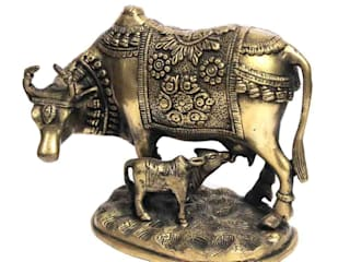Kamdhenu Cow & Calf Statue /Sacred Wish Fulfilling Cow/ Symbol Of Good Luck Prosperity and Love/ Antique Finish Brass Sculpture/ Auspicious Gifts:   by M4design