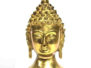 Gold Finish Brass Buddha Head Statue/ Home Decor Sculpture/ Religious Figure/ Table Top/ Online Shakyamuni Statue: rustic  by M4design,Rustic