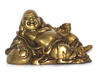 Antique Finish Laughing Buddha Statue / Feng Shui Gift / Brass Metal Sculpture/ Good Luck Charm / God Of Money/ Chinese Folkloric Deity: rustic  by M4design,Rustic