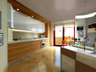 Progettazione di interni Soggiorno con angolo cottura : Sala da pranzo in stile in stile Moderno di AAA Architettura e Design