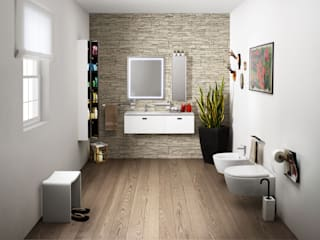 7 BATHROOMS FOR 7 STORIES Lineabeta Baños de estilo ecléctico Marrón