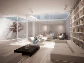 Harman Drive:  Living room by Kamvari Architects