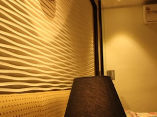 Panel for the Master Bed:  Living room by Architecture Interior Co. Pvt. Ltd