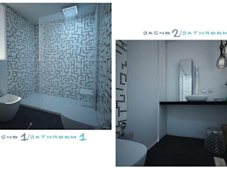 the two bathrooms: Bagno in stile in stile Minimalista di ZENZEROdesign