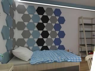 Hexa w projekcie Moniki Jankowskiej: styl , w kategorii Ściany zaprojektowany przez FLUFFO fabryka miękkich ścian
