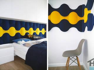Panele Flow 2.0 zainspirowały Martę Ziemnicką: styl , w kategorii Sypialnia zaprojektowany przez FLUFFO fabryka miękkich ścian