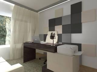 Gabinet w stylu nowoczesnym: styl , w kategorii Domowe biuro i gabinet zaprojektowany przez FLUFFO fabryka miękkich ścian
