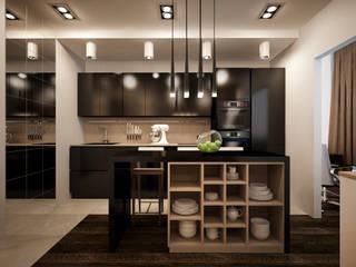 """Проект однокомнатной квартиры - """"Стиль современного города"""". Кухня в стиле минимализм от дизайн-бюро ARTTUNDRA Минимализм"""